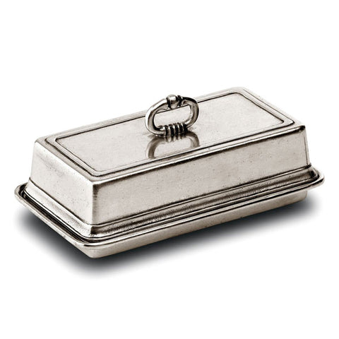 Umbria Butter Dish - 17 cm x 9.5 cm - Handcrafted in Italy - Pewter