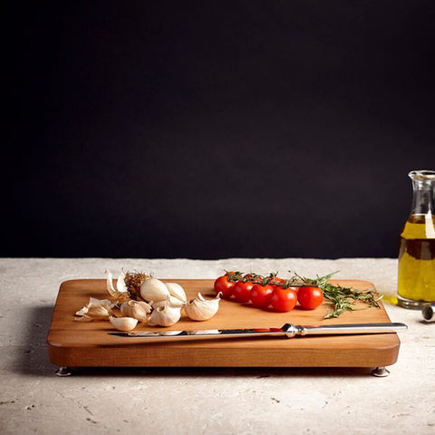 Umbria Footed Cutting Board - 35 cm x 27.5 cm - Handcrafted in Italy - Pewter & Cherry Wood