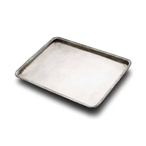 Umbria Rectangular Tray - 30 cm x 24 cm - Handcrafted in Italy - Pewter
