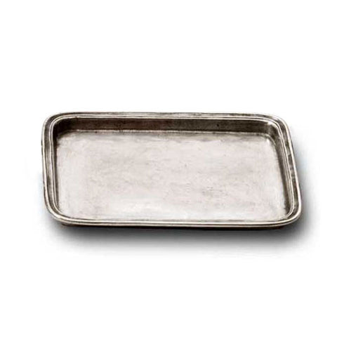 Umbria Rectangular Tray - 20 cm x 16 cm - Handcrafted in Italy - Pewter