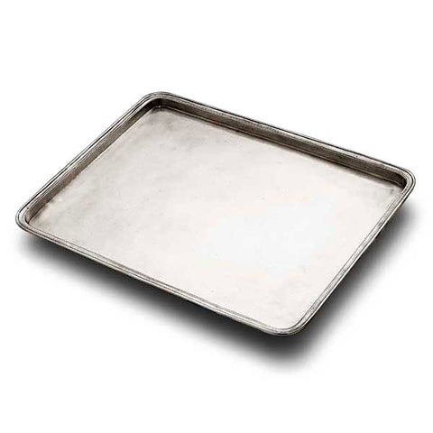 Umbria Rectangular Tray - 45 cm x 36 cm - Handcrafted in Italy - Pewter