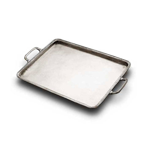 Umbria Rectangular Tray (with handles) - 30 cm x 24 cm - Handcrafted in Italy - Pewter
