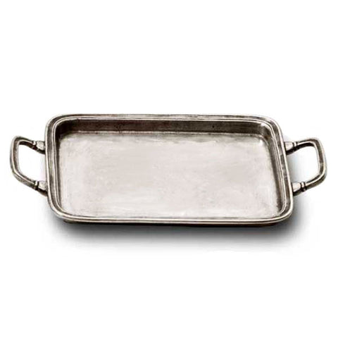 Umbria Rectangular Tray (with handles) - 20 cm x 16 cm - Handcrafted in Italy - Pewter
