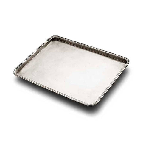 Umbria Rectangular Tray - 38 cm x 31 cm - Handcrafted in Italy - Pewter