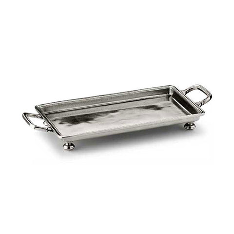 Umbria Rectangular Footed Tray (with handles) - 24.5 cm x 13.5 cm - Handcrafted in Italy - Pewter