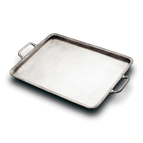 Umbria Rectangular Tray (with handles) - 45 cm x 36 cm - Handcrafted in Italy - Pewter