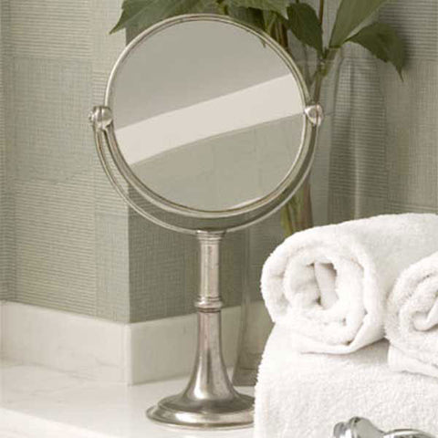 Vanita Vanity Mirror - 40 cm Height - Handcrafted in Italy - Pewter & Glass