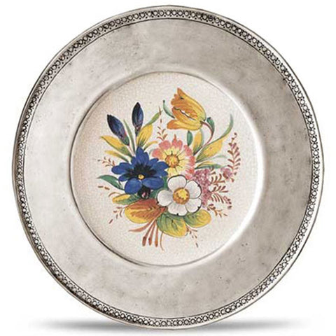 Italian Pewter Rimmed Floral Wall Plates For Hanging | Cosi Tabellini