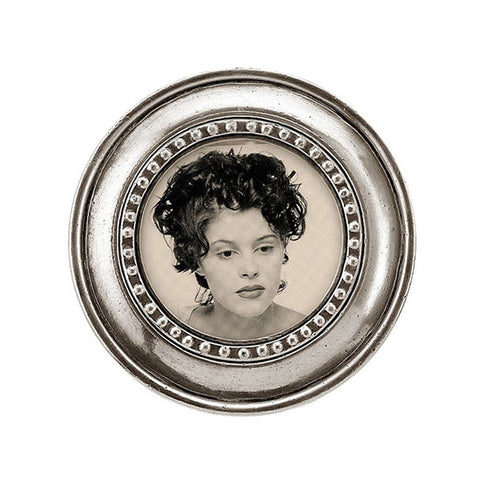Veneto Round Frame - 12 cm Diameter - Handcrafted in Italy - Pewter
