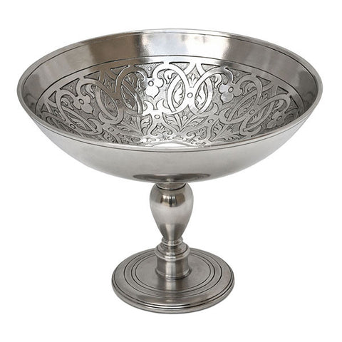Venezia Footed Bowl - Diameter 23 cm - Handcrafted in Italy - Pewter