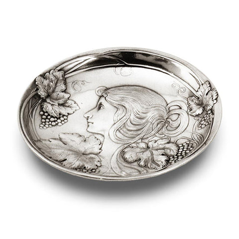 Art Nouveau-Style Vino Bowl - Lady & Grapes - 17 cm - Handcrafted in Italy - Pewter/Britannia Metal