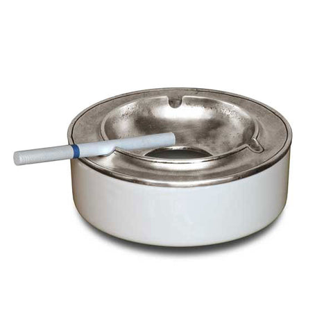 Vulcano Smokeless Ashtray - 12.5 cm - Handcrafted in Italy - Pewter & Ceramic