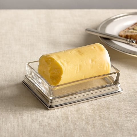 Velletri Butter Dish - 12.5 cm x 9.5 cm - Handcrafted in Italy - Pewter & Glass