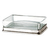 Velletri Soap Dish - 12.5 cm x 9.5 cm - Handcrafted in Italy - Pewter & Glass