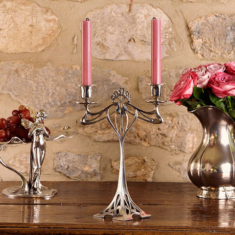 Art Nouveau-Style 2 Flame Eiffel Candelabra - 29.5 cm Height - Handcrafted in Italy - Pewter/Britannia Metal
