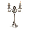 Art Nouveau-Style 2 Flame Candelabra - 29.5 cm Height - Handcrafted in Italy - Pewter/Britannia Metal