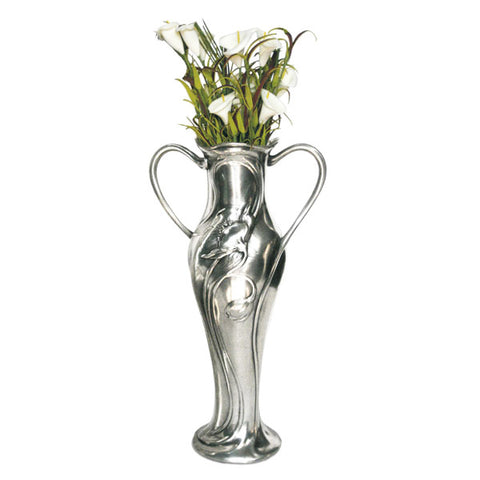 Art Nouveau-Style Flower Pot - 29 cm Height - Handcrafted in Italy - Pewter/Britannia Metal