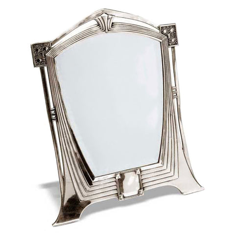 Art Nouveau-Style Secession Table Mirror - 53 cm Height - Handcrafted in Italy - Pewter/Britannia Metal