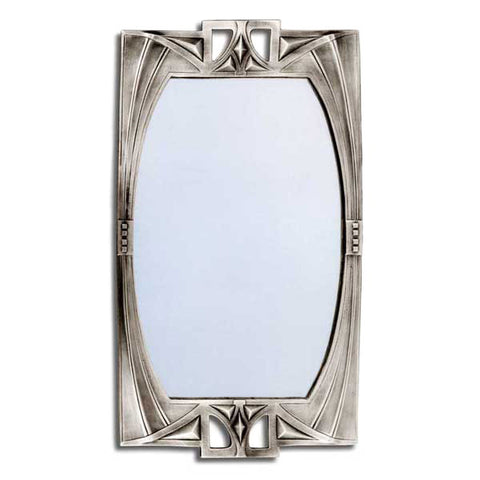 Art Nouveau-Style Secession Wall Mirror - 51 cm Height - Handcrafted in Italy - Pewter/Britannia Metal