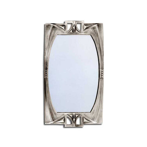 Art Nouveau-Style Wall Mirror - 38 cm Height - Handcrafted in Italy - Pewter/Britannia Metal & Glass