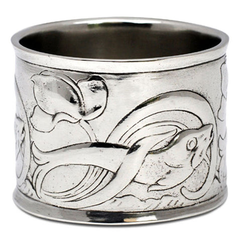 Art Nouveau-Style Pesci Fish Napkin Ring - 5 cm Diameter - Handcrafted in Italy - Pewter/Britannia Metal