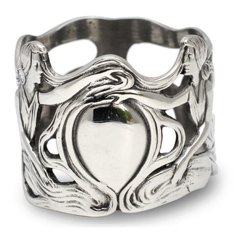 Art Nouveau-Style Donna Ladies Napkin Ring - 5 cm Diameter - Handcrafted in Italy - Pewter/Britannia Metal