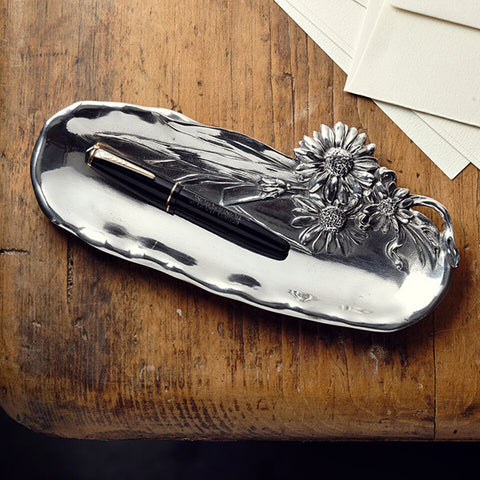 Art Nouveau-Style Fiori Daisy Pen Tray - 23 cm Length - Handcrafted in Italy - Pewter/Britannia Metal