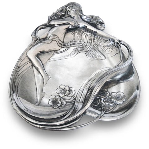 Art Nouveau-Style Ninfa Jewellery Tray - 22 cm x 27 cm - Handcrafted in Italy - Pewter/Britannia Metal