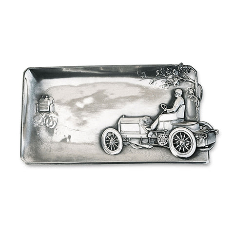 Art Nouveau-Style Auto Pocket Change Tray - Vintage Car - 23 cm - Handcrafted in Italy - Pewter/Britannia Metal