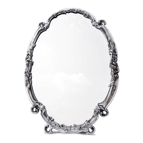 Art Nouveau-Style Barocco Table Mirror - 54.5 cm Height - Handcrafted in Italy - Pewter/Britannia Metal