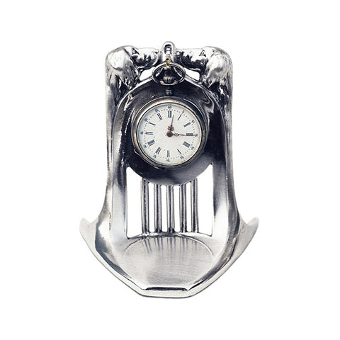 Art Nouveau-Style Cane Two Dogs Pocket Watch Stand - 9.5 cm - Handcrafted in Italy - Britannia Metal/Pewter
