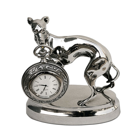 Art Nouveau-Style Cane Greyhound Pocket Watch Stand - 15.5 cm - Handcrafted in Italy - Britannia Metal/Pewter