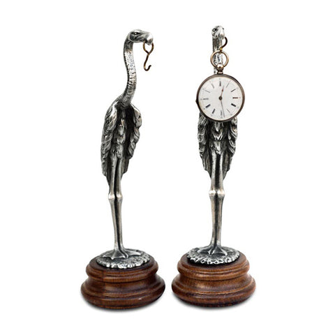 Art Nouveau-Style Cicogna Stork Pocket Watch Stand - 22.5 cm - Handcrafted in Italy - Britannia Metal/Pewter/Wood