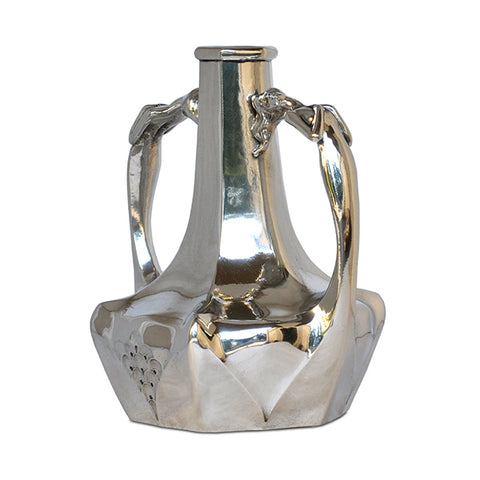 Art Nouveau-Style Donna Amphora Vase (Art Deco) - 22 cm Height - Handcrafted in Italy - Pewter/Britannia Metal