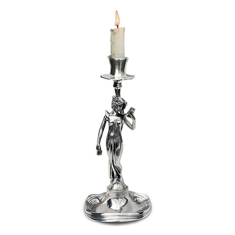 Art Nouveau-Style Donna Candlestick - Woman Reading - 25 cm Height - Handcrafted in Italy - Pewter/Britannia Metal