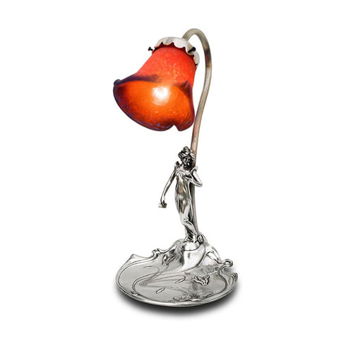 Art Nouveau-style Donna Electric Table Lamp - Lady & Cyclamen - 35 cm Height - Handcrafted in Italy - Pewter/Britannia Metal