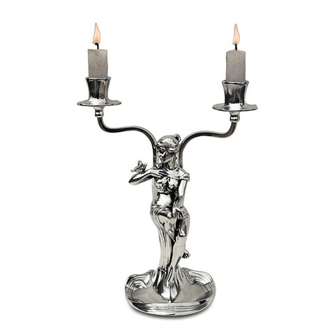 Art Nouveau-Style 2 Flame Donna Candelabra - Woman (left) - 24 cm Height - Handcrafted in Italy - Pewter/Britannia Metal