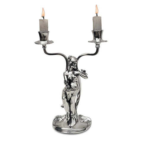 Art Nouveau-Style 2 Flame Donna Candelabra - Woman (right) - 24 cm Height - Handcrafted in Italy - Pewter/Britannia Metal