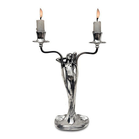Art Nouveau-Style 2 Flame Donna Candelabra - Woman - 27.5 cm Height - Handcrafted in Italy - Pewter/Britannia Metal