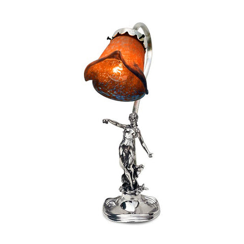 Art Nouveau-style Donna Electric Table Lamp -  Lady with Ornament - 36 cm Height - Handcrafted in Italy - Pewter/Britannia Metal