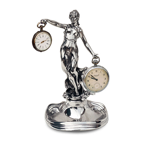 Art Nouveau-Style Donna Seated Lady Pocket Watch Stand - 19 cm - Handcrafted in Italy - Britannia Metal/Pewter