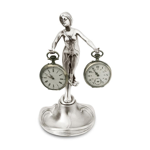 Art Nouveau-Style Donna Lady Pocket Watch Stand - 21 cm - Handcrafted in Italy - Britannia Metal/Pewter