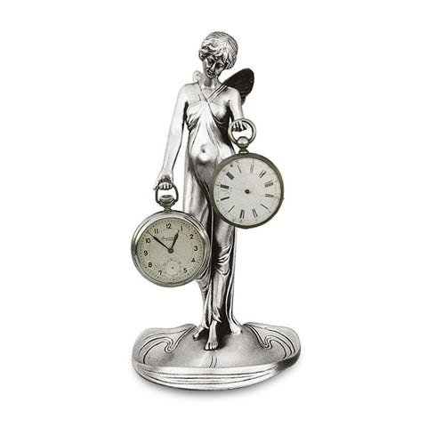 Art Nouveau-Style Donna Winged Lady Pocket Watch Stand - 21.5 cm - Handcrafted in Italy - Britannia Metal/Pewter