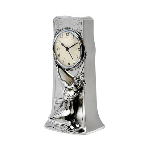 Art Nouveau-Style Donna Table Clock - 27 cm - Handcrafted in Italy - Britannia Metal/Pewter