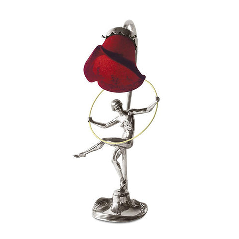 Art Nouveau-style Donna Electric Table Lamp - Gymnast - 37 cm Height - Handcrafted in Italy - Pewter/Britannia Metal