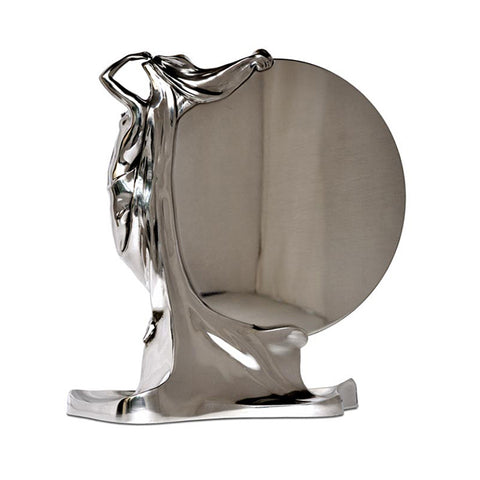 Art Nouveau-Style Donna Table Mirror - 34 cm Height - Handcrafted in Italy - Pewter/Britannia Metal