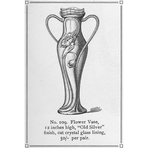Art Nouveau-Style Fiori Flower Vase - 29 cm Height - Handcrafted in Italy - Pewter/Britannia Metal
