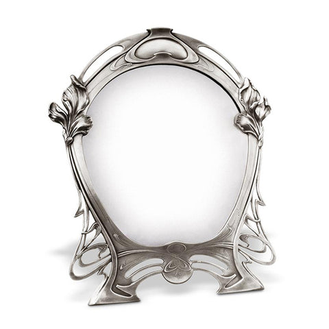 Art Nouveau-Style Giglio Vanity Mirror - 43.5 cm Height - Handcrafted in Italy - Pewter/Britannia Metal
