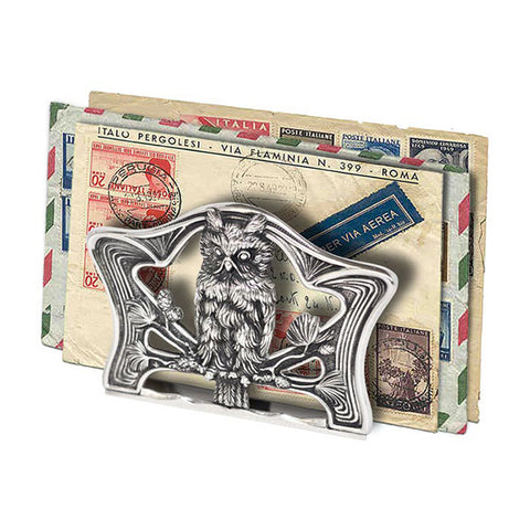 Art Nouveau-Style Gufo Letter Holder - Owl -  Handcrafted in Italy - Pewter/Britannia Metal