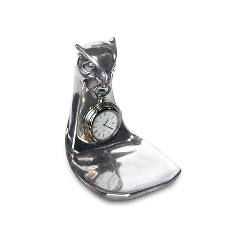 Art Nouveau-Style Gufo Owl Pocket Watch Stand - 11 cm - Handcrafted in Italy - Britannia Metal/Pewter/Wood
